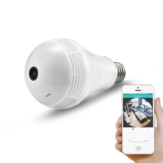 Lâmpada Espiã Câmera Ip Led Wifi Hd Panorâmica V380 Celular