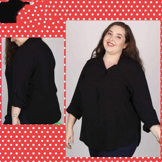Camisa Lisa Negra Talle 6 Y 8.