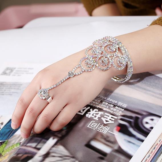 Pulseira Anel Bracelete Cristal Colorido Strass Noiva Linda