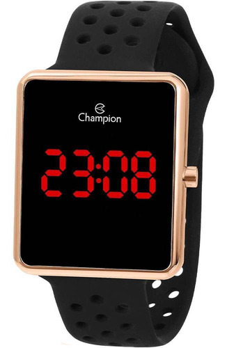 Relógio Champion Feminino Digital Rosê Silicone Pt Ch40081p