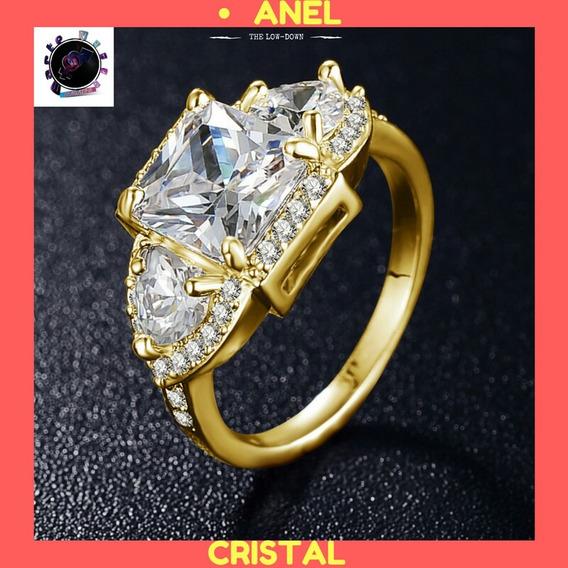 Anel Feminino, Cristal Banhado A Ouro 18k, Formatura, Casame