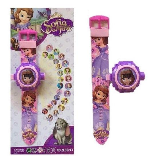 Relógio Princesas Sofia Projetor De Luz 24 Imagens Infantil