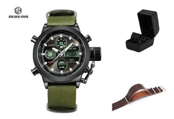Relógio Goldenhour Preto + Pulseira Extra - Pronta Entrega