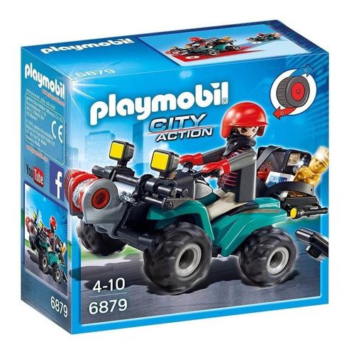 Imagen 1 de 7 de Playmobil City Action Ladron C/ Quatriciclo Y Botin Jeg 6879