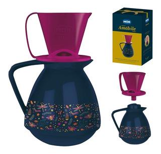 Conjunto Amábile Marinho Bule 650ml Suporte Coador Café Chá