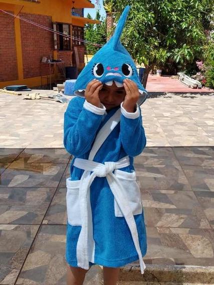 Baby Shark Tiburon Bata De Baño Niño Towell Kid
