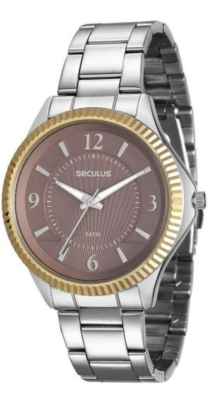 Relógio Feminino Seculus 20545l0svns3 Prata Com Dourado