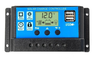 Regulador De Carga Panel Solar 30a 12v 24v Display Usb Pwm