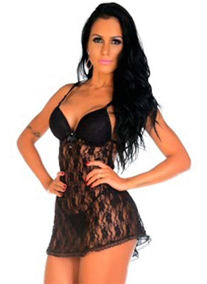 Camisola Sensual Rendada Sexy Bella + Calcinha Tropikanas