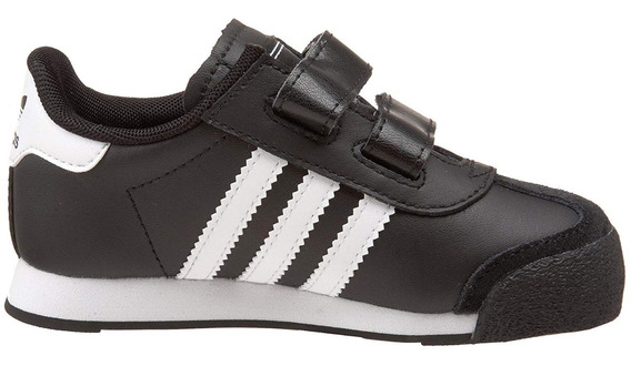 Kids Tenis adidas Originals Samoa Retro Leather Negro Blanco