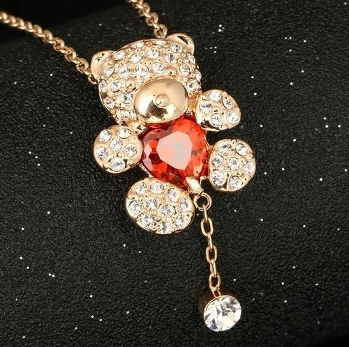 Collar Oso Corazon Rojo Baño Oro 18k Cristales Genuinos