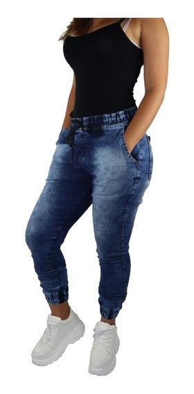 Calça Jeans Feminia Jogger Cos Elastico Camuflada
