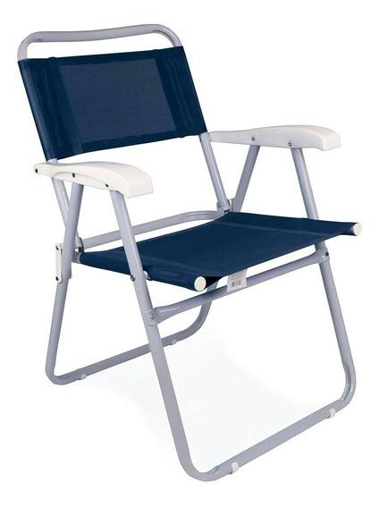 Cadeira De Praia Master Aço Azul Reforçada Mor Dobrável