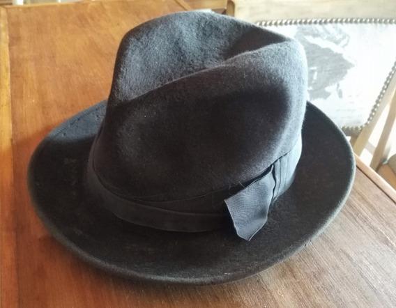 Sombrero De Fieltro Homburg O Fedora Tanguero Antiguo Real