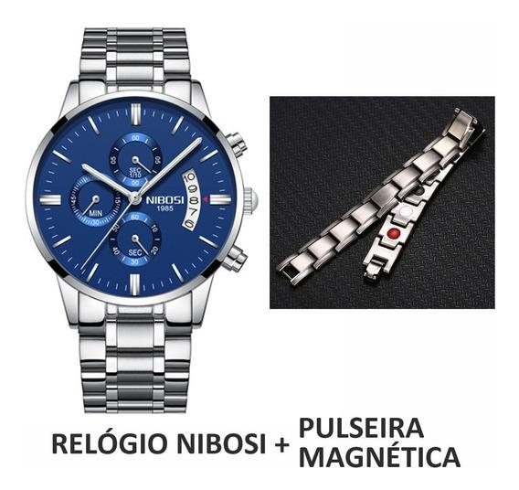 Kit Relógio Nibosi 2309 Original + Pulseira Magnética Prata