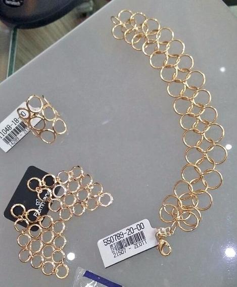 Conjunto Rommanel Brinco,anel E Pulseira Folheado Lindo