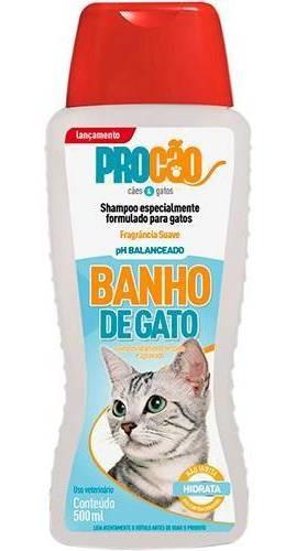 Kit C/ 8 Shampoo Banho De Gato 500ml Procão