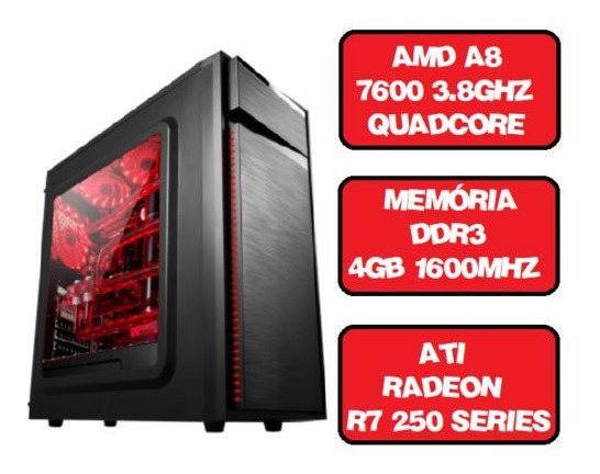 Computador Gamer A8 7600 Quad Core 3.8 Ghz Hdmi 4gb Ati Rade