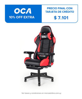 Silla Pc Gamer Base Metálica Con Apoyapies Premium Giratoria