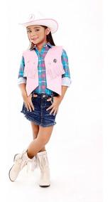 Colete Cowboy Cowgirl Com Chapeu Infantil - Kit 2 Peças