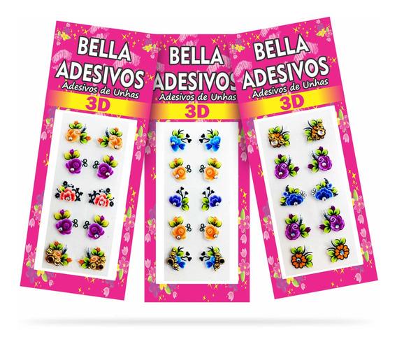 100 Adesivos De Unha 3d Com Joias Bella Adesivos, 10cartelas