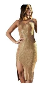 Vestido Feminino Midi Regata Fenda Brilho Modal Blogueiras