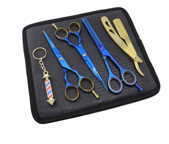 Kit Tesouras Profissional 6.0 Azul