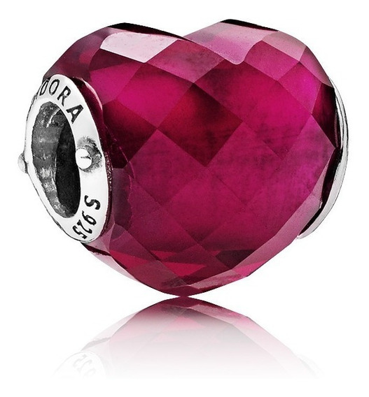 Charm Pandora Corazón Cristal Fucsia 100% Plata S925