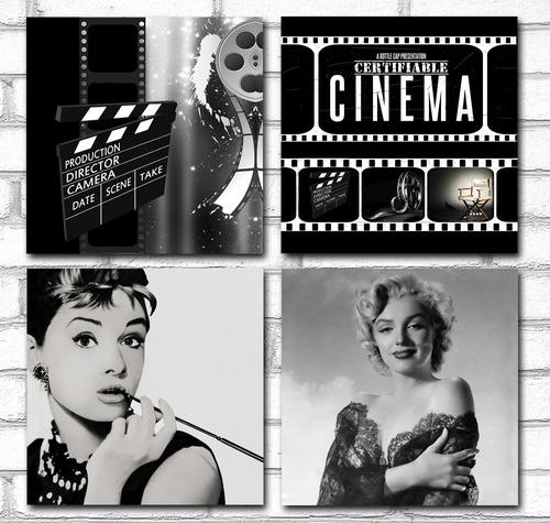 Imagem 1 de 8 de Kit 4 Quadros Para Sala Cinema Audrey Marilyn 60x60cm R2