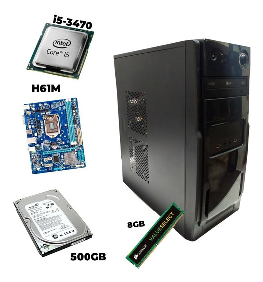 Computador I5-3470 Com 8gb Corsair, H61m, Hd De 500gb