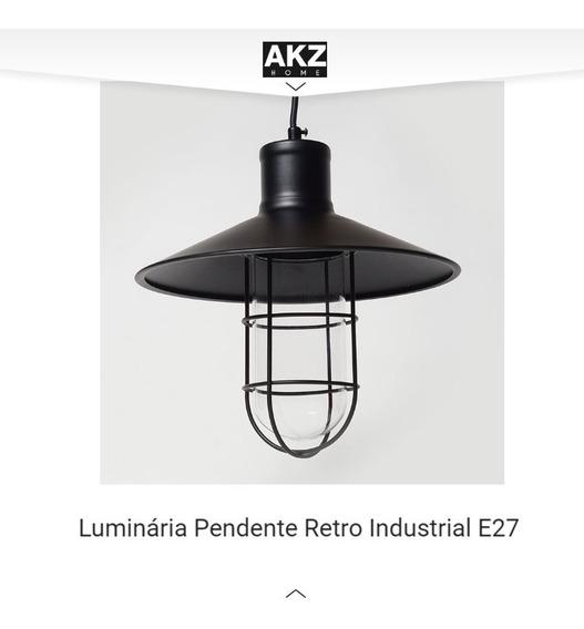 Luminária Industrial Preto Aramado E27