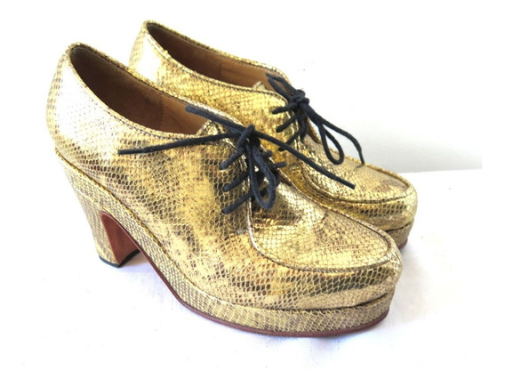 Zapatos Mishka Acordonados Dorados Cuero 38