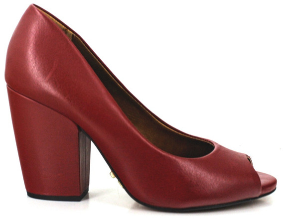 Sapato Social Feminino Salto Grosso 9cm Peep Toe Couro Abert