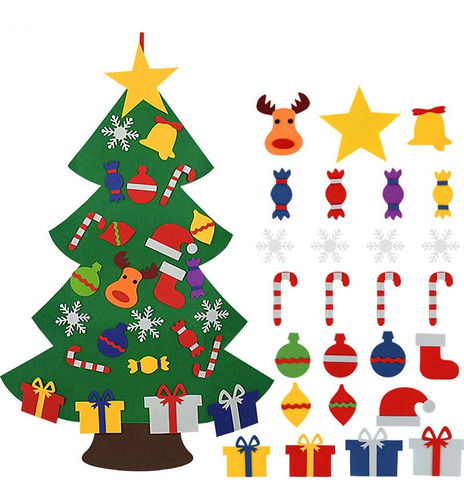 Imagen 1 de 5 de Bricolaje Fieltro Árbol De Navidad Feliz Navidad Decoración