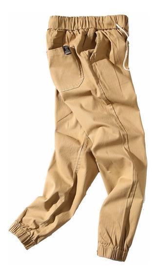 Calça Masculina Sarja Com Elástico Na Barra