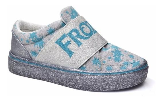 Tenis Infantil Frozen Azul Cinza Grendene 35 36 Menina