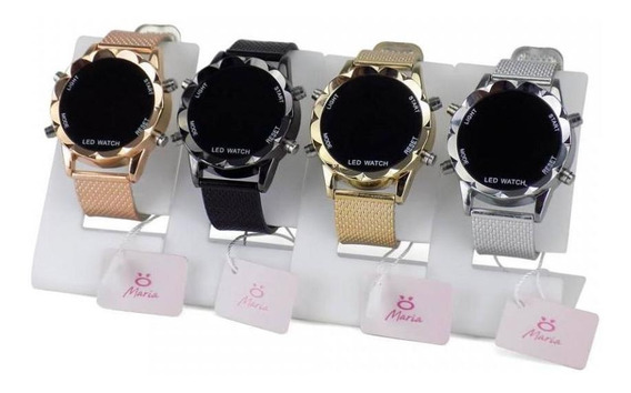 Kit 4 Relógio Feminino Led Dourado Prata Orizom