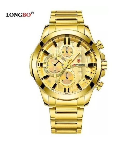 Relógio Longbo Aço Prata Masculino Preto Grande Dourado