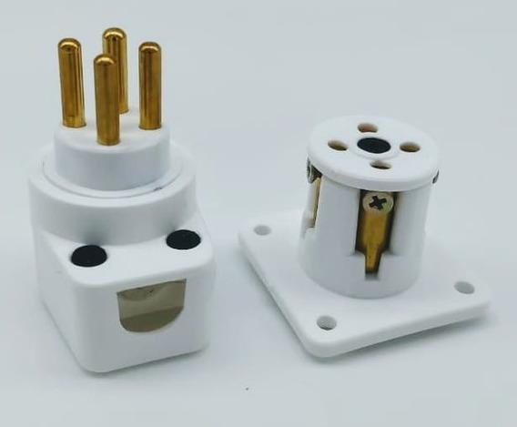 Conector Rc4a (áudio) - Branco - 4 Polos - 40a Por Polo