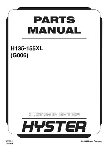 Manual Pecas Empilhadeira Hyster H135 155xl Serie G006 Pg376