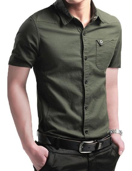 Camisa Slim Fit Hombre Verde Militar Manga Corta