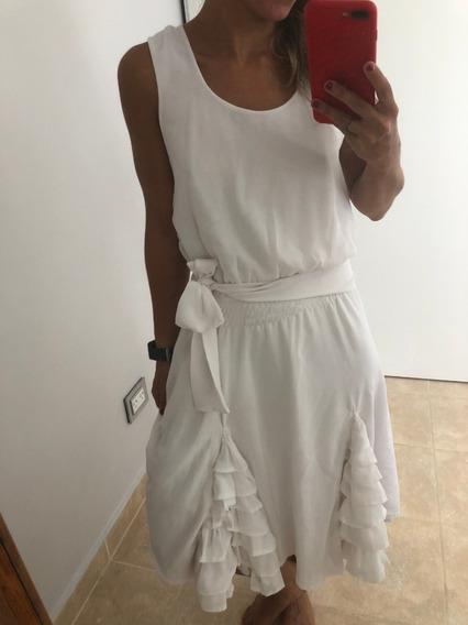 Vestido De Gasa Falda Godet Volados Blanco Impecable Talle S