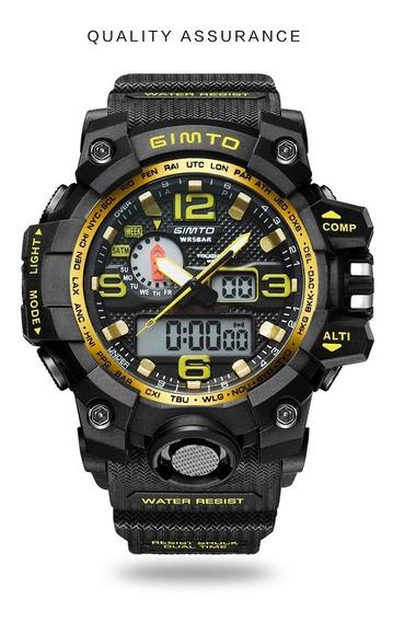 Relógio Masculino Esportivo Digital Gimto Gm303 Original Cronômetro Analógico Resistente A Shock