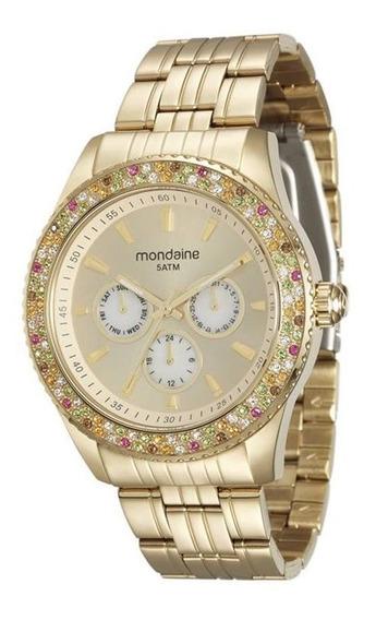 Relógio Mondaine Feminino Dourado Cristais 78731lpmvda1