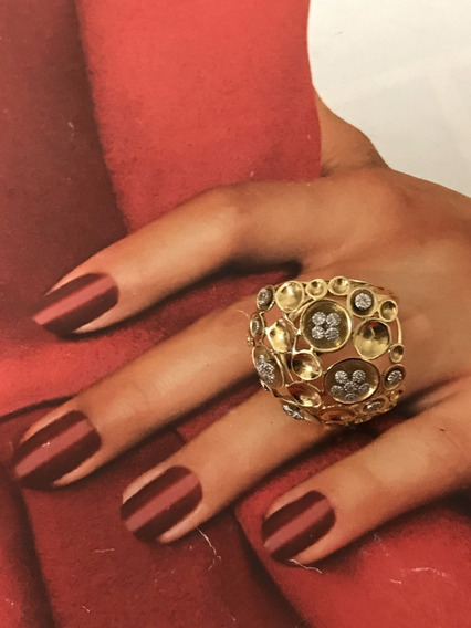Anel Ouro 18k-aro 17 C/diamantes, Peso: 9,3 Gr.