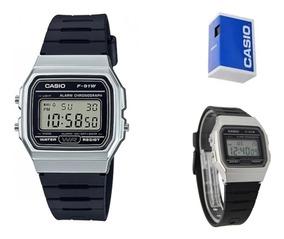 Reloj Casio Vintage F91 Wm-7 Unisex Plata Resina Full