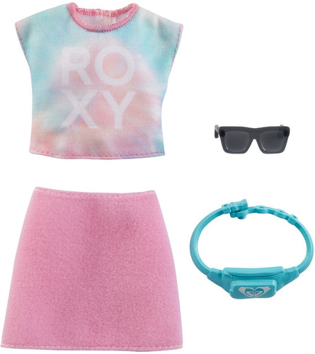Imagem 1 de 3 de Barbie Fashion Pack 2021 Roxy  Saia Camiseta Óculos Pochete