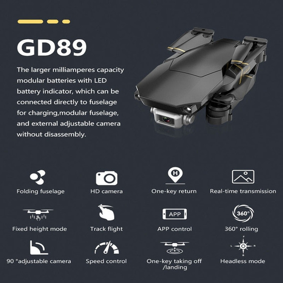 M65 Gd89 Rc Drone Com 4k / 1080p Hd Camera Fpv Wifi Altitude