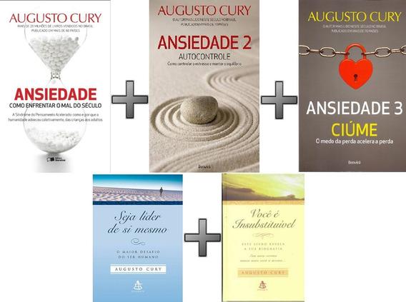 Coleção Augusto Cury 5 Livros: Ansiedade; Ciúme; Seja Líder;