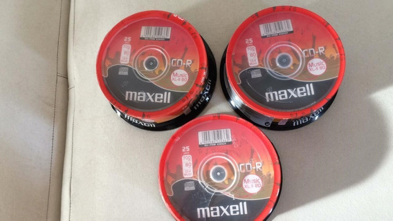 3 Pacotes (25) Maxell Music 75 Cds Áudio Record Original